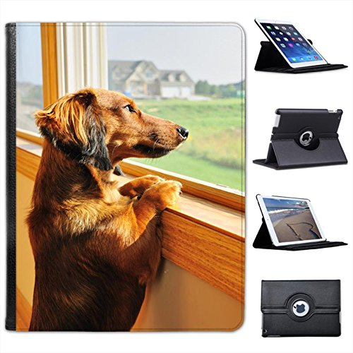 - Dachshund Looking Out of Window for Apple iPad 2, 3 & 4 Faux Leather Folio Presenter Case Cover Bag with Stand Capability
