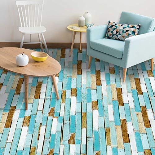 "7 Pcs Vinyl Floor Wall Sticker for Home Decor, Peel and Stick Non-Slip Flooring Plank, Removable Water-Proof Backsplash Tile Decal for Kitchen Bathroom Living Room Decor, 36"" X 6.1"""
