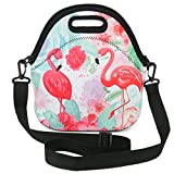 Insulated Neoprene Lunch Bag Removable Shoulder Strap Reusable Thermal Thick Lunch Tote Bags For Women,Teens,Girls,Adults-Lunch Boxes For Outdoors,Work,Office,Shopping (Cute Flamingos)