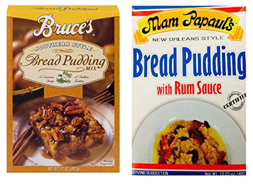 Bread Pudding Mix - Southern Style Bread Pudding Sampler Bundle - 1 each of Bruce's Bread Pudding Mix 17 Ounces and Mam Papaul's Bread Pudding Mix 16.25 Ounces