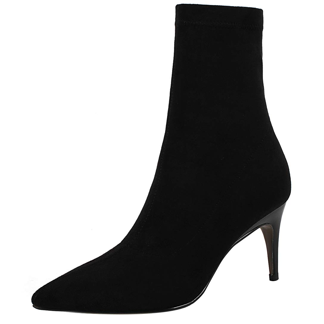 Black Eithy Women's Shadmi Stiletto Ankle-high Zipper Leather Boots