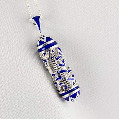 (Mezuzah Necklace Jewish Pendant Aleph-Bet Hebrew Alphabet Jewelry Judaica Necklace Gift for Men, Bar Mitzvah Gift for Boy Jewish Necklace w Hebrew Blessing )