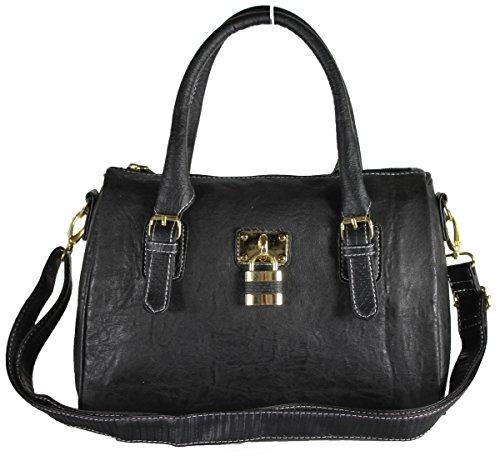 New Designer Leather Style Padlock Bag Shoulder Handbag Across Body Strap Bags