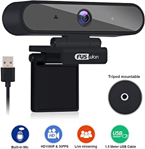 HD 1080P PC Webcam Microphone Live Streaming, FUSWLAN USB Laptop Web Camera Noise Cancelling Computer Camera for Video Calling, Meeting Recording Online Study Desktop Webcam Compatible Windows MAC