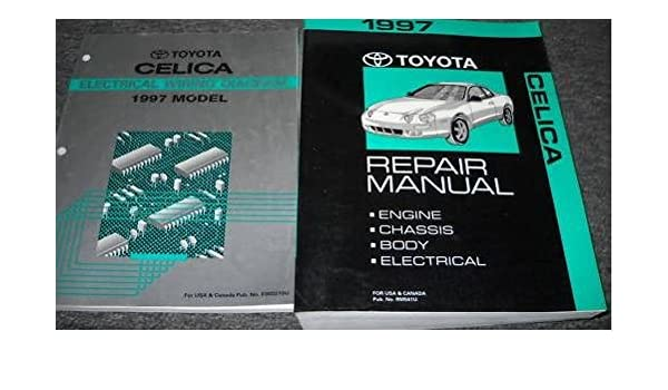 1997 toyota celica service repair shop manual set oem w wiring diagram book  paperback – 1997