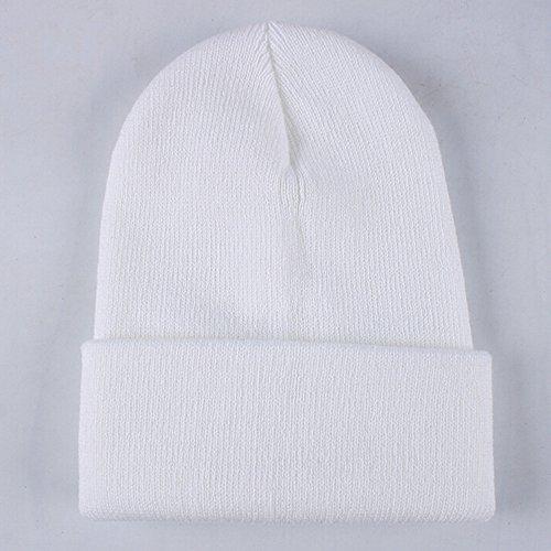 Clearance! iYBUIA Unisex Slouchy Knitting Beanie Hip Hop Cap Warm Winter Ski Hat(White,One Size)