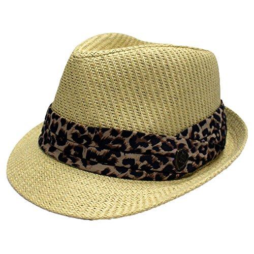 City Hunter Pms380 Pamoa Plain Straw with Leopard Trim Summer Fedora (Natural-L/xl Size )