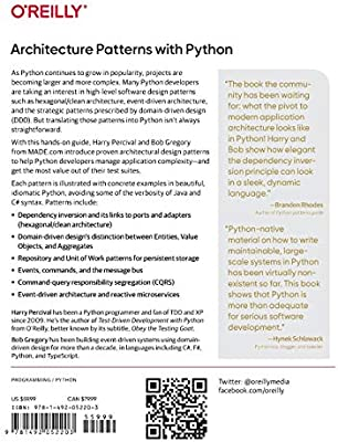 Architecture Patterns With Python Enabling Test Driven Development Domain Driven Design And Event Driven Microservices Percival Harry Gregory Bob 9781492052203 Amazon Com Books