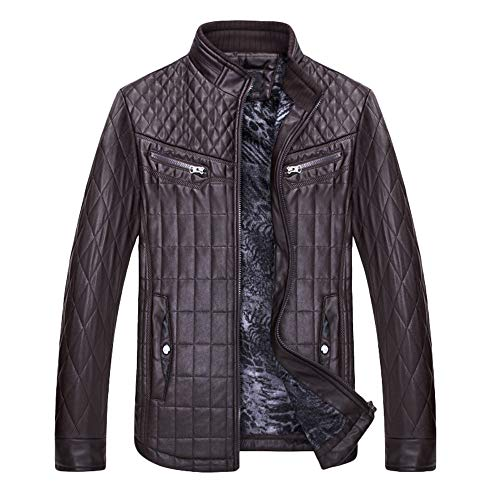 CUCUHAM Fashion Men's Autumn Winter Thermal Check Leather Zipper Outwear Top Coat(Coffee,X-Large) ()