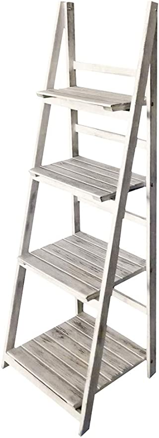 Kingpower Estanteria Escalera de Estante 4 Anaquel Plegable Blanco Antiguo: Amazon.es: Hogar