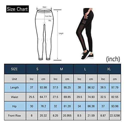 IMIDO Women\'s Yoga Capri Pants Sport Tights Workout Running Mesh Leggings with Side Pocket (Black Long Pants, M)
