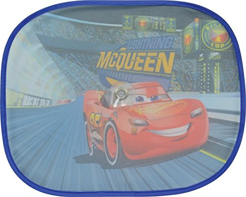 XtremeAuto Disney Pixar Cars, Lightning McQueen, Side Car Sunshade X2-36cm x 44cm - Complete with Sticker