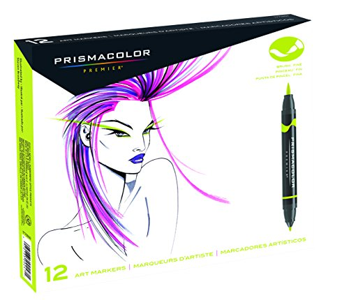 - Prismacolor 1773297 Premier Double-Ended Art Markers, Fine and Brush Tip, 12-Count
