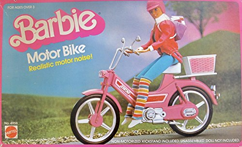 BARBIE Non Motorized MOTOR BIKE w Working WHEELS Makes REALISTIC MOTOR NOISE Sounds & has KICKSTAND Included! (1983 Mattel Hawthorne)