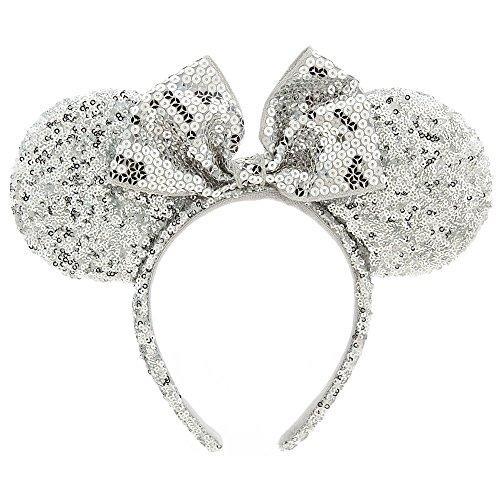 Disney Minnie Mouse Ear Headband - Silver Sequins]()