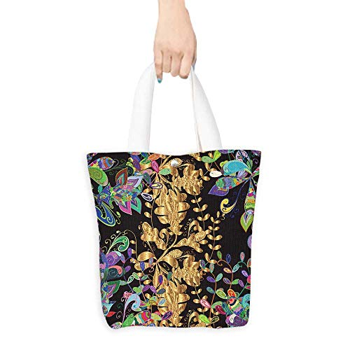 Canvas Tote Bag Abstract beautiful background royal damask ornament vintage rich seamless pattern luxury artistic vector wallpaper floral oldest style fashioned arab(W15.75 x L17.71 Inch)