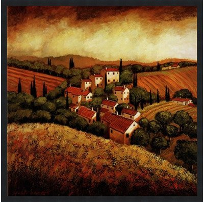 Poster Palooza Framed Tuscan Hillside Village- 24x24 Inches - Art Print (Classic Black ()