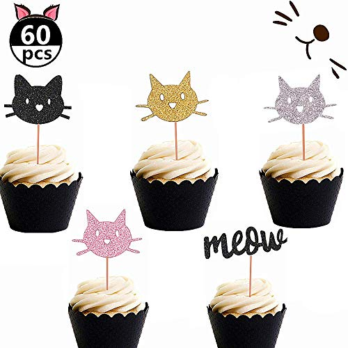 Set of 60 JeVenis Glittery Kitten Cat Meow Cupcake Toppers Cat Cupcake Topper Meow Cupcake Toppers Girl's Birthday Kitten theme Party Decorations Kids' Birthday Party Decors