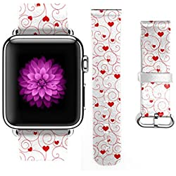 Apple Watch Band, Premium Genuine Leather Replacement Strap Wrist Band Straps for Apple Watch 38mm Heart and Stripes Pattern