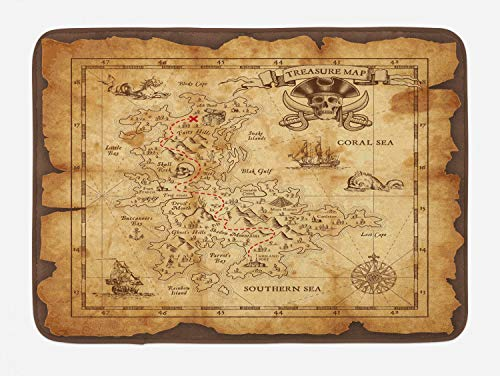 Ambesonne Island Map Bath Mat, Super Detailed Treasure Map Grungy Rustic Pirates Gold Secret Sea History Theme, Plush Bathroom Decor Mat with Non Slip Backing, 29.5 W X 17.5 L Inches, Beige Brown ()