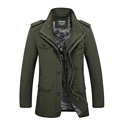 el slim de del 5XL chaqueta simulacro hombre Algodón En Chaqueta adelgaza Hombre cuello un de casual el verde puro ejército ocio otoño An4qOvd