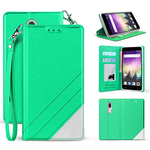 for Coolpad Alchemy (T-Mobile, Metro PCS)/ Coolpad Legacy/Alchemy Premium PU Leather Two Tone Flip Folio Credit Card Slot Wallet Case [Magnetic Closure & Free Emoji Keychain] (Mint Green)