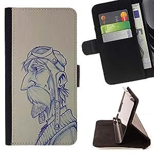 - Queen Pattern FOR HTC One M9 /La identificaci????n del cr????dito ranuras para tarjetas tir????n de la caja Cartera de cuero cubie - pilot sketch drawing man moustache -