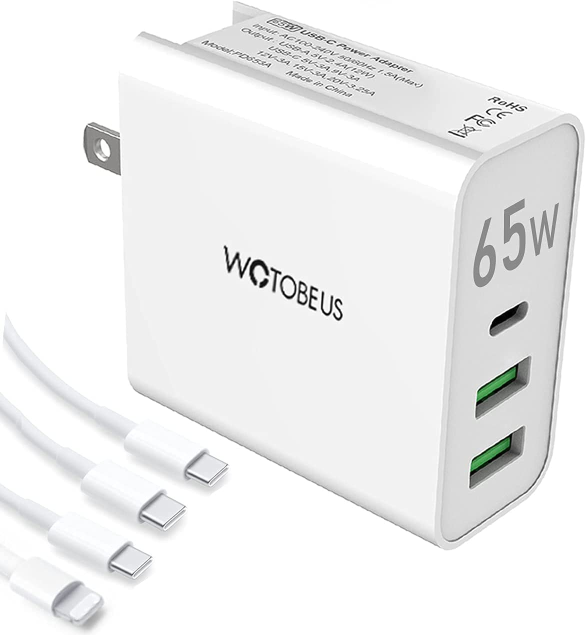 WOTOBEUS 65W USB C Wall Charger Block QC 3.0 12W USB Fast Power Adapter with 5A PD 100W Type C to USBC Cable/USB to iPhone Cord for MacBook Pro,iPad,S9,S10,Note9,Switch,Pixel,XPS ThinkPad,Dell,HP