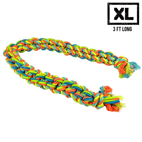 Monster (3 FT) Dog Rope Chew Tug Toy, Natural Cotton Rope, Safe Healthy Teeth, Multi-Colored Non-Toxic Dye, Large Tough Aggressive Chewer for All Small, Medium, and Large Dogs (Toy Rope Tug)