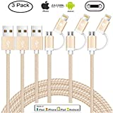 [Apple MFi Certified] [3Pack 3.3FT] 2 in 1 Cable iPhone Cable and Android Cable Multiple USB Fast Charge Cable, Lightning & Micro Cable with 8 Pin USB Ports for iPhone iPad Samsung Kindle.