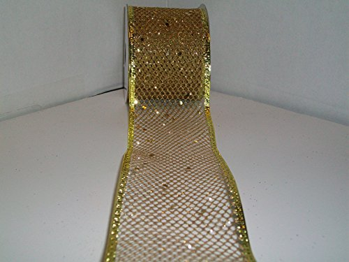 (Gold Metallic Mesh Ribbon Wired Edge - 2-1/2