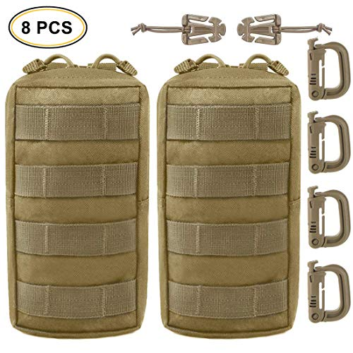 EVERLIT 2 Pack Tactical Molle Pouch Set with Multipurpose D-Ring Grimloc Locking and Web Dominator
