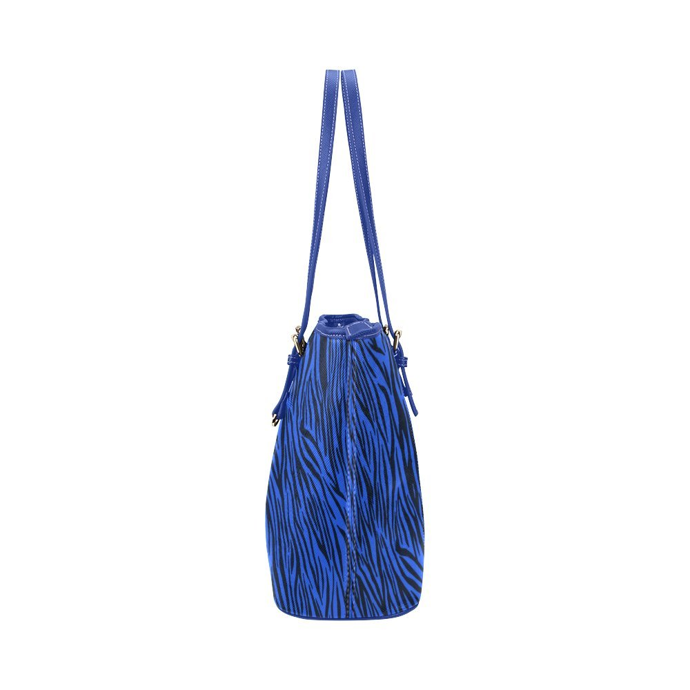 InterestPrint Blue Zebra Stripes Animal Print Fur Leather Tote Bag Small
