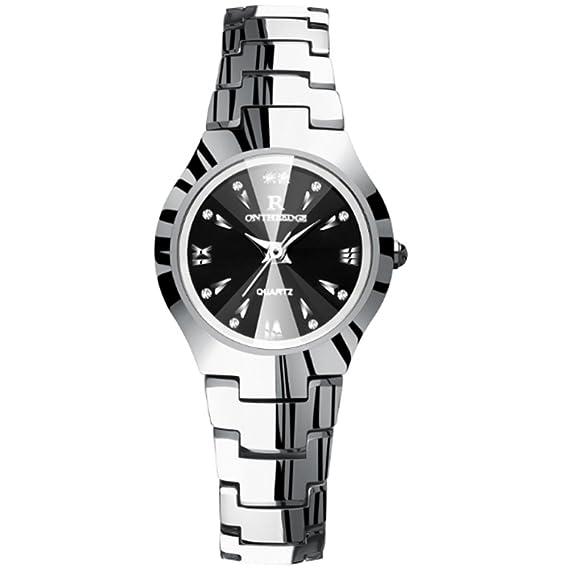 Reloj para mujer, reloj de acero de tungsteno resistente al agua ornamento Reloj de pulsera de cuarzo para mujer Reloj mecánico pulsera (Color : Silver): ...