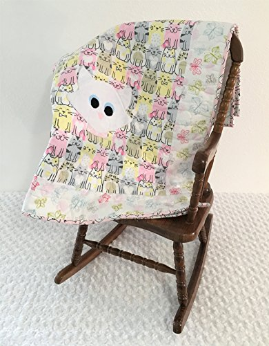 Small Cat Applique Quilt With Butterflies