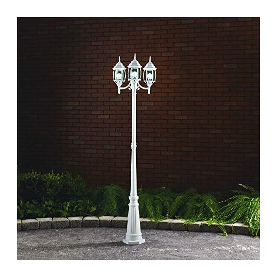 NOMA Outdoor Street Light | Waterproof Outdoor Lamp Post Light with Triple-Head Design for Backyard, Patio, Garden, Walkway or Décor | White Light Pole with Clear Glass Panels, 3-Headed - HIGH QUALITY BRIGHT LIGHTING: Outdoor light fixture only requires three 60W medium base bulbs to add a warm bright light to your Front Gate, Porch, Driveway or Patio creating a unique and welcoming ambience for all of your guests STYLISH LAMP POST DESIGN: Exterior street light with a clear glass panels, cast aluminum built and elegant white finishing adds a perfect touch to your outdoor living space EASY INSTALLATION: Simply install the outdoor light where you want it for an easy, quick & safe installation then enjoy greeting your guests into a warm and welcoming atmosphere. Includes hardware for installation - patio, outdoor-lights, outdoor-decor - 516UQn13X%2BL. SS570  -
