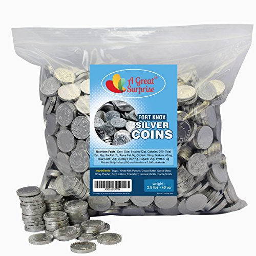 Chocolate Silver Coins - Fort Knox Chocolate Coins, Silver, Milk Chocolate 2.5 LB Bulk (Pirate Theme Snacks)