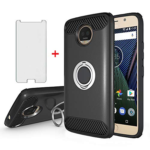 Phone Case for Motorola Moto G5S Plus with Tempered Glass Screen Protector Magnetic Mount Ring Holder Stand Kickstand Slim Accessories Rubber Protective Cell Cover Moto G5S+ G5Splus XT1803 Women Men