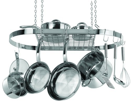 (Range Kleen CW6001 Stainless Steel Hanging Oval Pot Rack 1.5 Inch H by 33 Inch W by 17 Inch D)