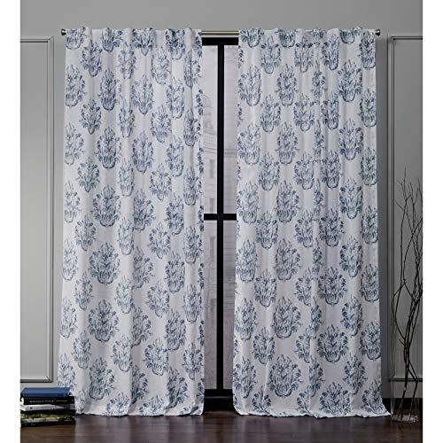 Nicole Miller Tabitha Hidden Tab Top Curtain Panel, Indigo Blue, 50x96, 2 Piece