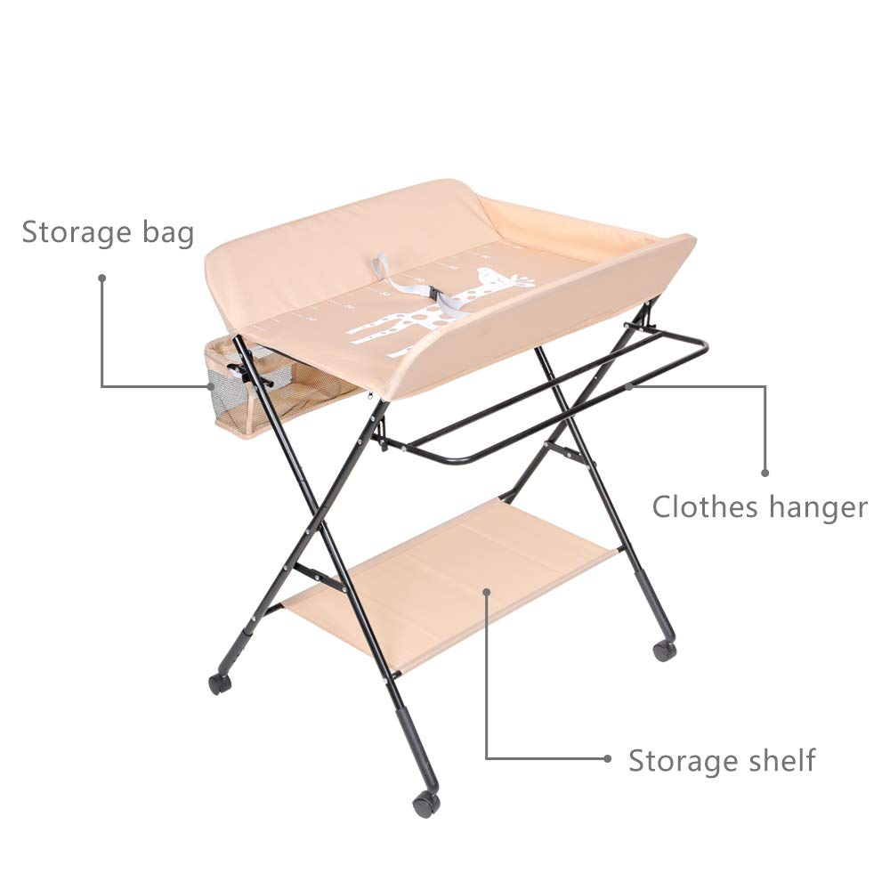 Black Baby Changing Table Foldable Infant Care Station with Wheels Mobile Newborn Massage Table Space-Saving Dresser Diaper Organizer