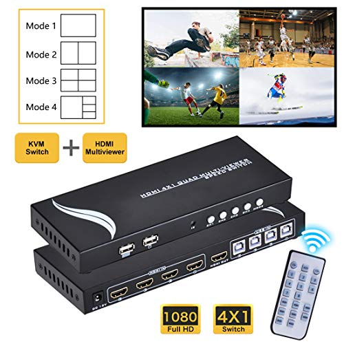 HDMI 4x1 KVM Quad MultiViewer, with USB KM Sharing for Gamer, 1080P 4 in 1 Out, 4 Modes with IR Remote for Game, Exhibition Hall, Education, Surveillance, Video Meeting etc.
