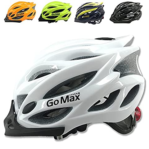 GoMax Aero Adult Safety Helmet Adjustable Road Cycling Mountain Bike Bicycle Helmet Ultralight Inner Padding Chin Protector and visor w/ Rear LED Tail Light adjust (Shiny White with LED, - Folding Bike Helmet