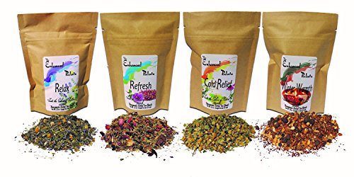 Enhanced Palate Therapeutic Organic Herbal Tea Sampler Relax, Refresh, Cold Relief, & Winter Warmth for Health & Wholeness