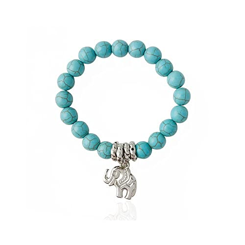 Amazon.com: MISSU Jewellry elefante perlas de color turquesa ...