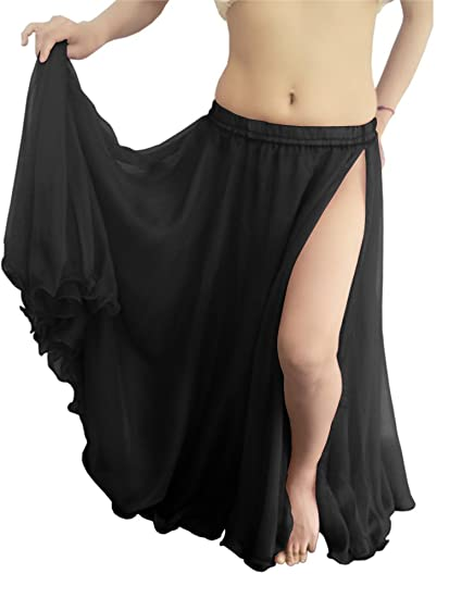 60fc61382a Indian Trendy Women Maxi Chiffon Double Layer 1 Slit Skirt Belly Dance  Tribal Panel Jupe Rock (One Size, Black) at Amazon Women's Clothing store: