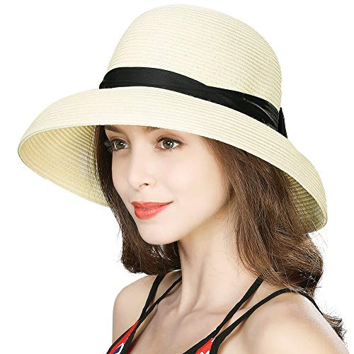 Womens Floppy Summer Sun Beach Straw Fedora Black Ribbon Small Head Bow Derby Hat SPF50 Packable Fedora Cloche Light Beige 55-57cm