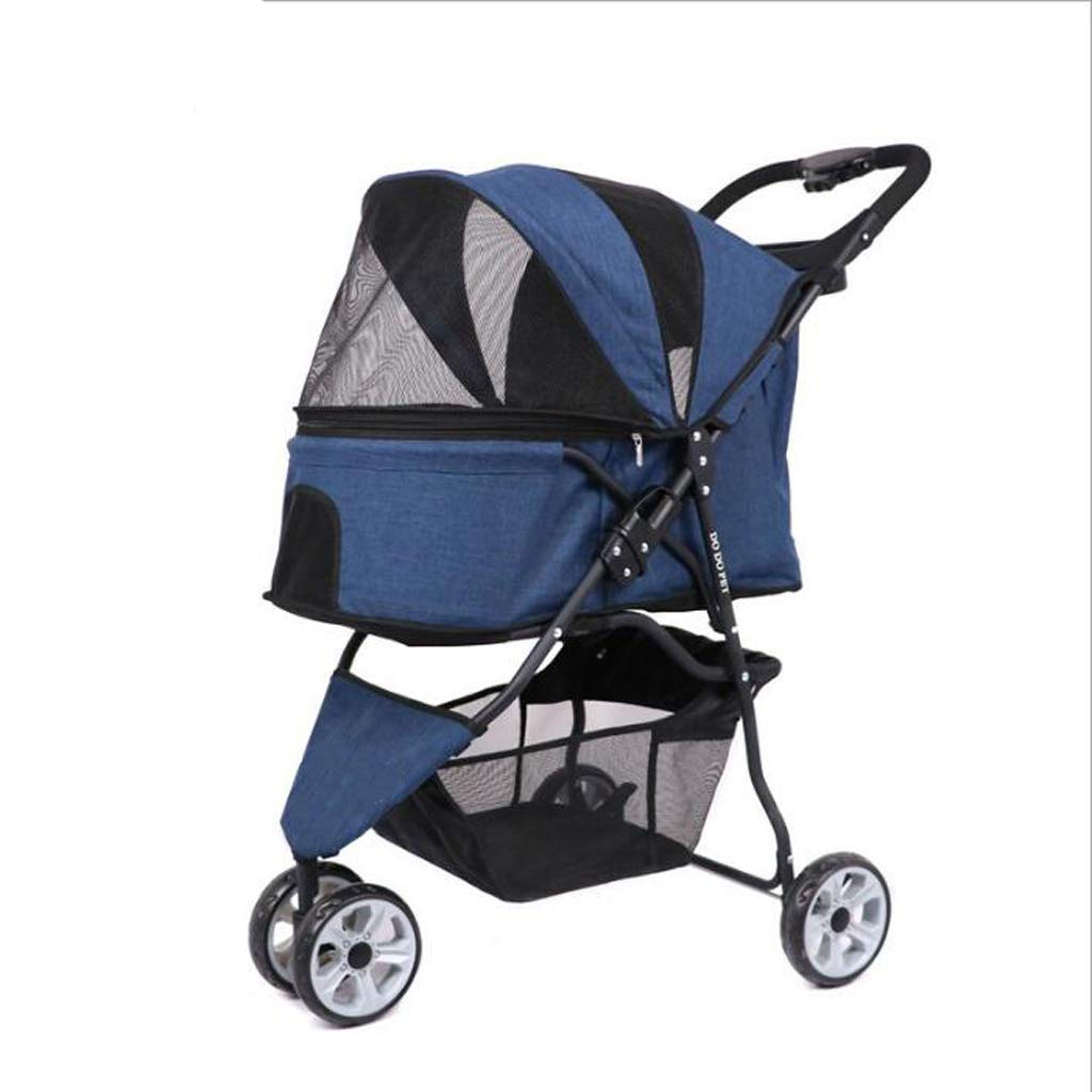 bluee DUHUI Pet Stroller Dog Pushchair, Light weight stainless frame pet travel carrier, Big Wheel with Safety breaks (color   bluee)