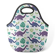 Good4Life - Neoprene Lunch Tote Insulated Reusable Picnic Lunch Bag [ Dinosaur Purple Blue Pattern ]