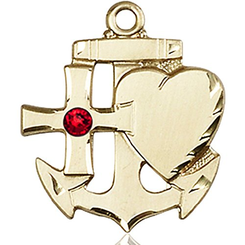 14kt Yellow Gold Faith Hope & Charity Medal with 3mm July Red Swarovski Crystal 7/8 x 3/4 inches by Bonyak Jewelry Saint Medal Collection